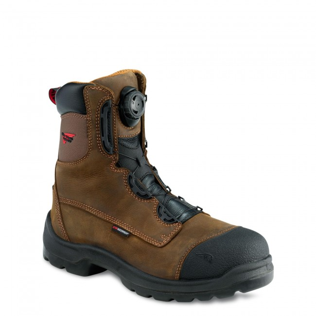 Red Wing 3268 Mens 8 Inch Safety work Boot BOA Lacing System brown ... d90eb867bdcf